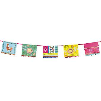 Boho Bunting Floral Llama with Mini Pom Poms 4m Long Garland