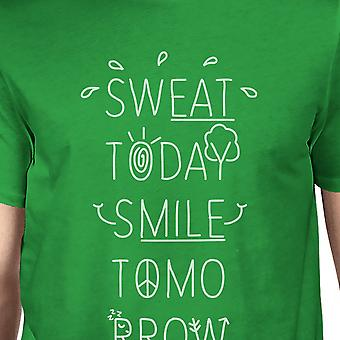 Sweat Smile Mens Green Funny Gym Quote Workout T-Shirt Short Sleeve