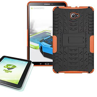 Hybrid outdoor Bag Orange for Samsung Galaxy tab A 10.1 T580 + 0.4 tempered glass