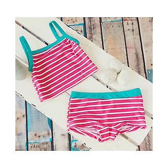 Big Fisch Girls Striped Tankini - Raspberry