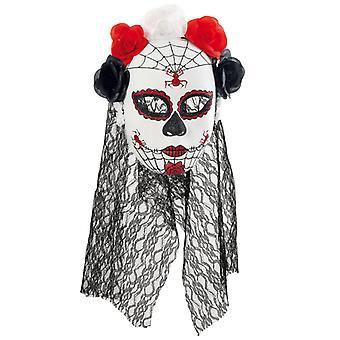 Mask Mexican dead day half mask veil flowers undead Horroebraut