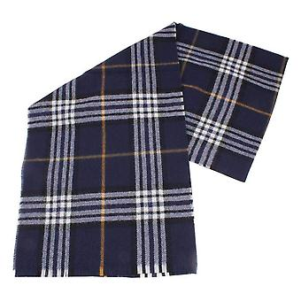 Fraas Checked Wool Scarf - Navy/White/Yellow