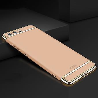 Handy Hülle Schutz Case für Huawei P20 Bumper 3 in 1 Cover Chrom Etui Gold