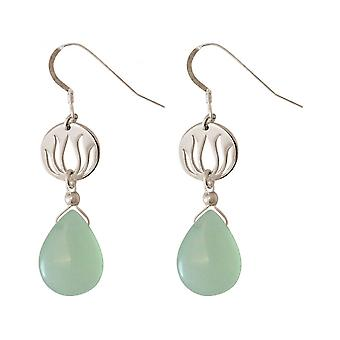 Drops ladies - earrings - earrings - 925 Silver - Lotus Flower - mandala - chalcedony - - green - YOGA - 4 cm