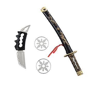Ninja set 4pcs espada con vaina de cuchillo 2 lanzando estrellas accesorios carnaval