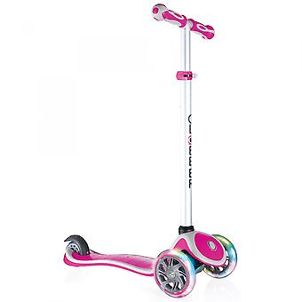 Globber Primo Plus Lights 3 Wheel Scooter With Light Up Wheels Deep Pink