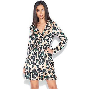 Animal Satin Wrap Dress