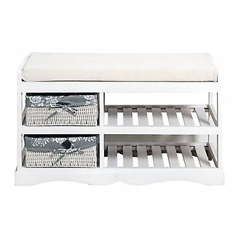 White Shabby Chic Style bench With 2 Baskets-Re4020-Rebecca's Furniture