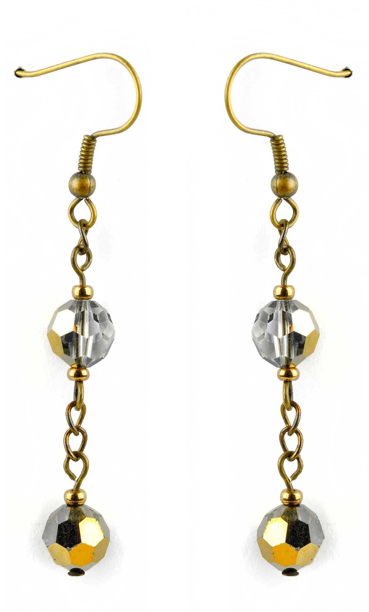 Waooh - Fashion Jewellery - WJ0707 - On Earrings with Swarovski Strass Silver & Gold - Metal Frame Colour Gold