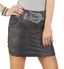 Waooh - fashion - skirt short pattern denim with printed belt