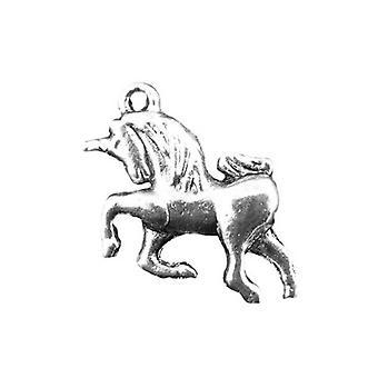 Pakket 10 x antieke zilveren Tibetaanse 23mm Unicorn hangertje/ZX07145