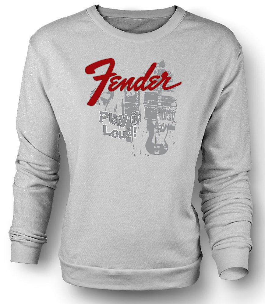 Mens Sweatshirt Fender Strat Play Loud - guitare