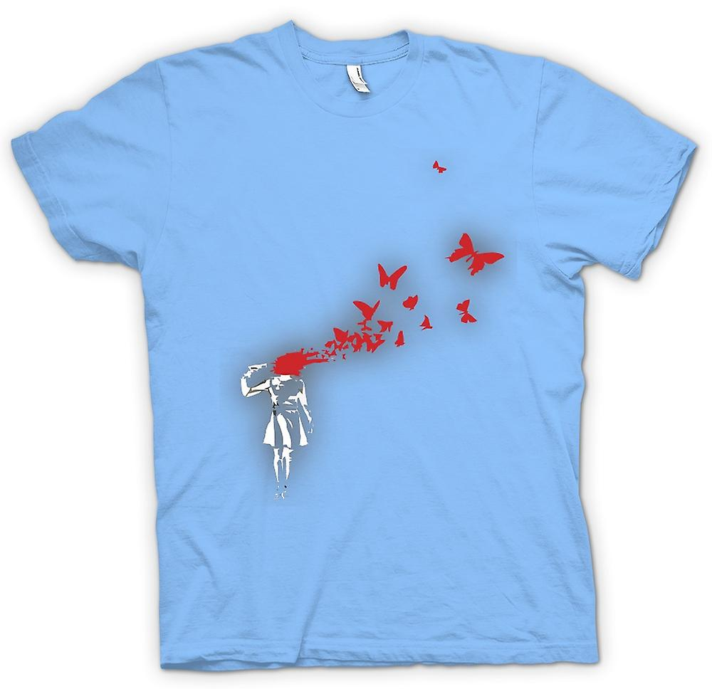 Mens T-shirt - Banksy Graffiti Art - Butterly