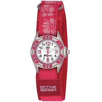 Ravel filles lumineux rose Hibiscus facile fixer sangle Watch R1507.19