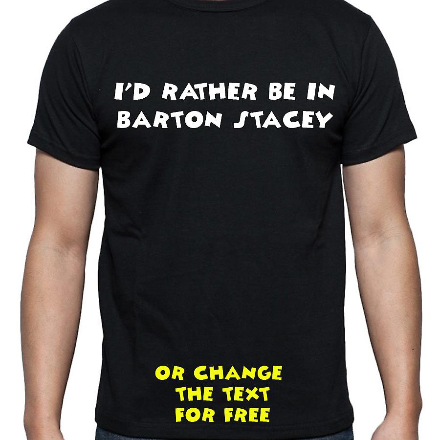 I'd Rather Be In Barton stacey Black Hand Printed T shirt