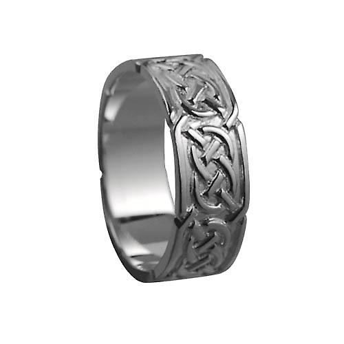 18ct White Gold 8mm Celtic Wedding Ring Size V