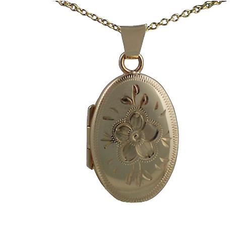 9ct Gold 22x15mm engraved flower design oval Locket with Cable link chain