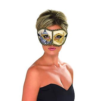 Womens Venetiaanse Colombina Venetië masker, gouden Fancy Dress accessoire