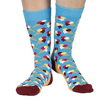 Gelato luxury combed cotton designer crew socks in aqua | By Ballonet