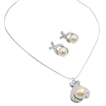 Swarovski Pearls 10mm Pendant Earrings Cream Sparkling Jewelry Set