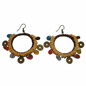 Chic Bohemian Multicolored Beads Coin Charm Yellow Crochet Earrings