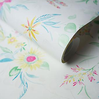Watercolour Butterfly Wallpaper Flowers Floral Abstract Metallic Luxury Holden White Multicoloured