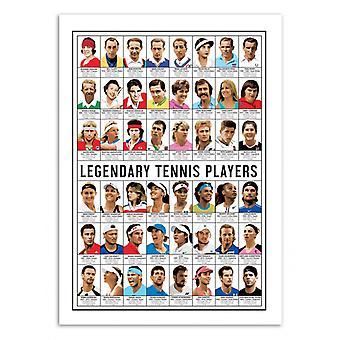 Art-poster-legendariska tennisspelare-Olivier Bourdereau 50 x 70 cm
