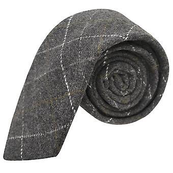 Heritage Check Charcoal Grey Tie, Tweed, Mens Necktie