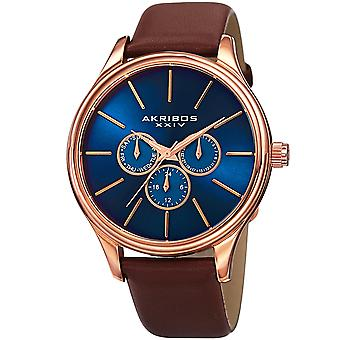 Akribos XXIV AK870RGBU Men's Japanese Quartz Multifunction Leather Strap Watch