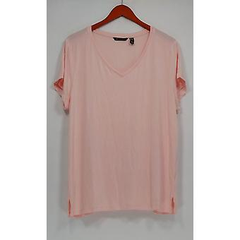 H par Halston Women-apos;s Plus Top Essentials V-Neck Tee Pink A306231