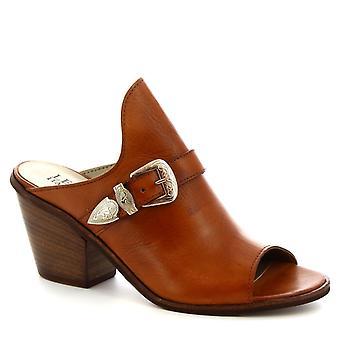 Leonardo Schuhe Frauen 's handgemachte Maultiere Fersen Schnalle Schuhe aus braunen Kalbsleder