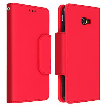 Magnetic Detachable Wallet Folio Case for Samsung Galaxy J4 Plus - Red