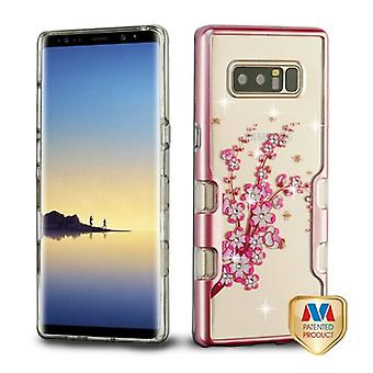 MYBAT Metallic Rose Gold/Spring Flowers Diamante TUFF Panoview Hybrid Protector Cover  for Galaxy Note 8