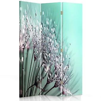 Room Divider, 3 Panels, Double-Sided, Rotatable 360, Canvas, And The Dew Dandelion