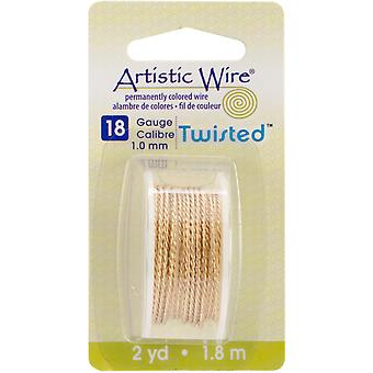Artistic Wire Twisted Round Non Tarnish Brass 18 Gauge 2Yd Awd18tnt
