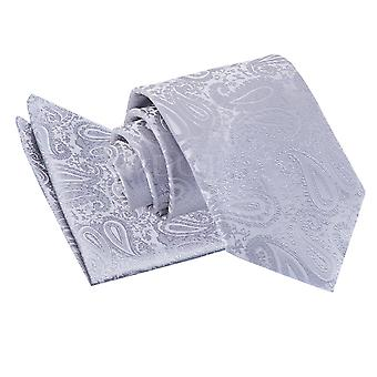Silver Paisley Tie & Pocket Square Set