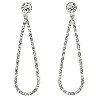 Clip On Earrings Store Silver & Clear Crystal Open Teardrop Clip on Earrings