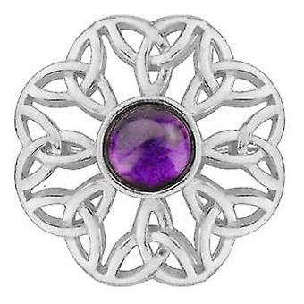 Brooches Store Pewter Celtic Brooch with Amethyst Purple Stone