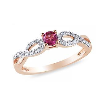 Affici argento Semi eternità anello placcato in oro rosa 18ct. ~ Ruby & diamante CZ gemme
