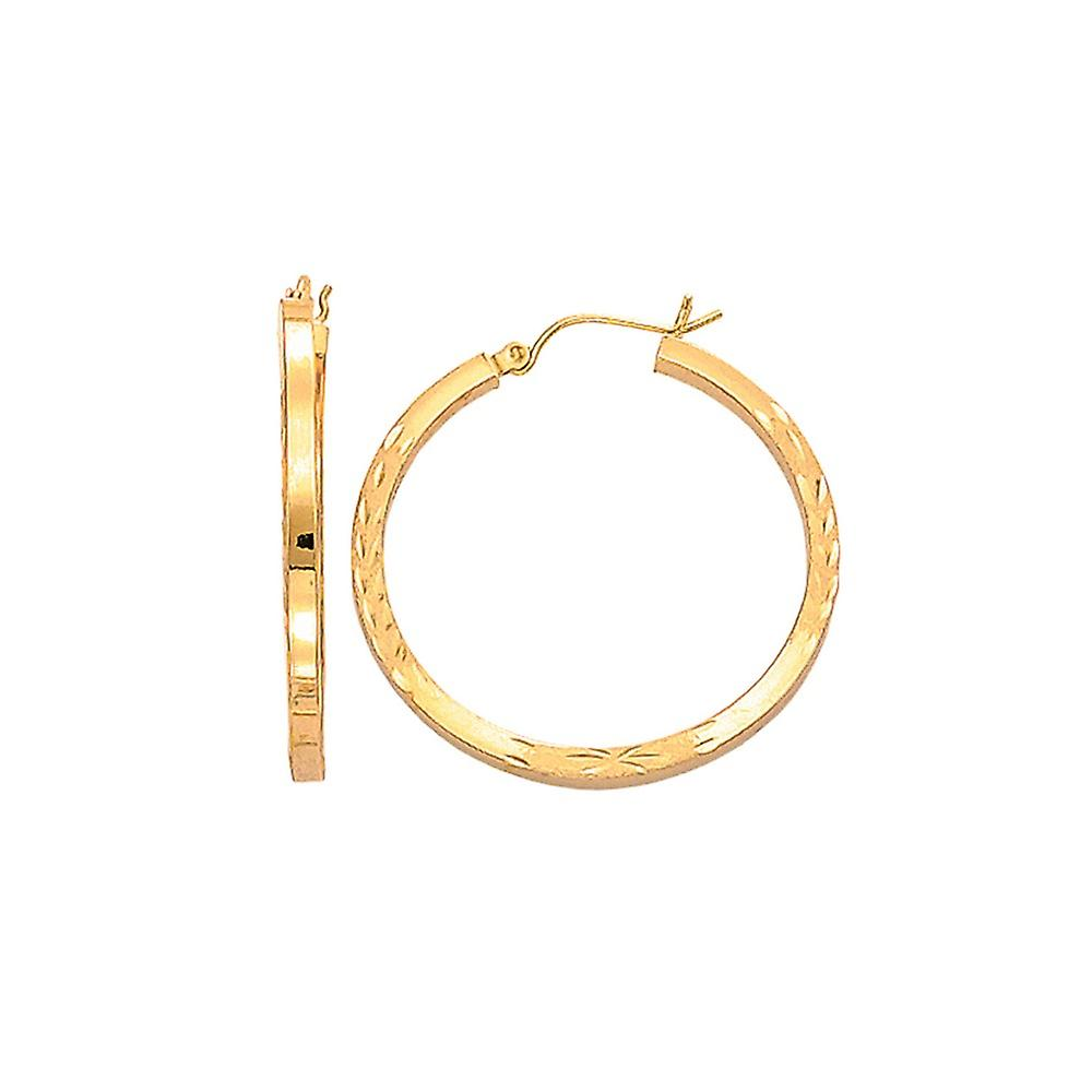 14k jaune or Fancy Sparkle-Cut Square Tube Round Hoop Earrings With Hinged Clasp - 2.9 Grams