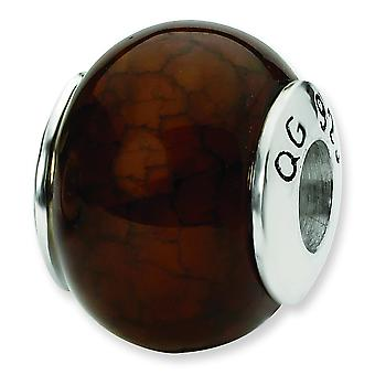 Sterling Silver Reflections Brown Shell Faceted Rondell Stone Bead Charm