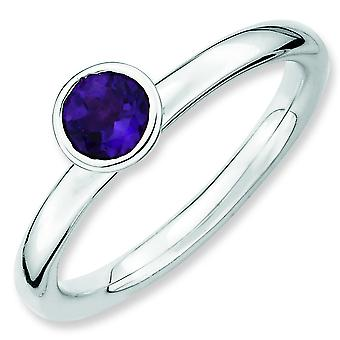 Sterling Silver Stackable Expressions High 5mm Round Amethyst Ring - Ring Size: 5 to 10