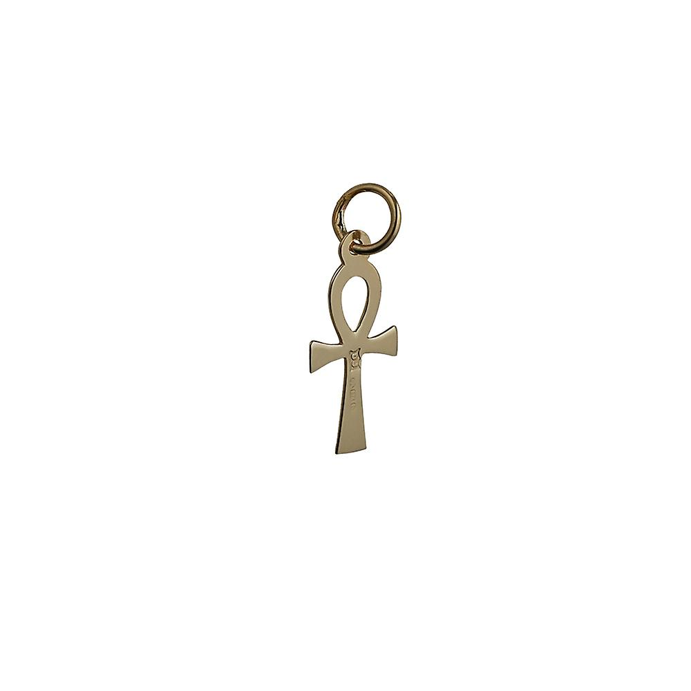 9ct Gold 17x9mm plain Ankh or Peace Cross