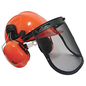 Chainsaw Safety Helmet With Large Metal Mesh Visor