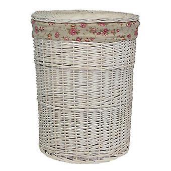 Store runde White Vask skittentøyskurv med hage Rose fôr