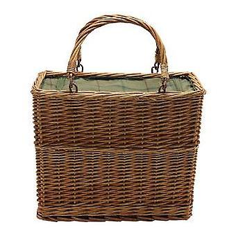 Green Tweed Retangular Wicker Cooler Basket