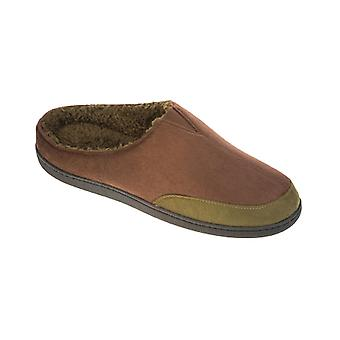 Mens New Cooler Brand MicroSuede Mule With Warm Soft Fur Insole Slipper