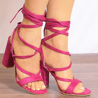 Koi Couture Pink Lace Up Heels - Ladies Db66 Fuchsia Pink Lace Ups Peep Toes Strappy Sandals High Heels