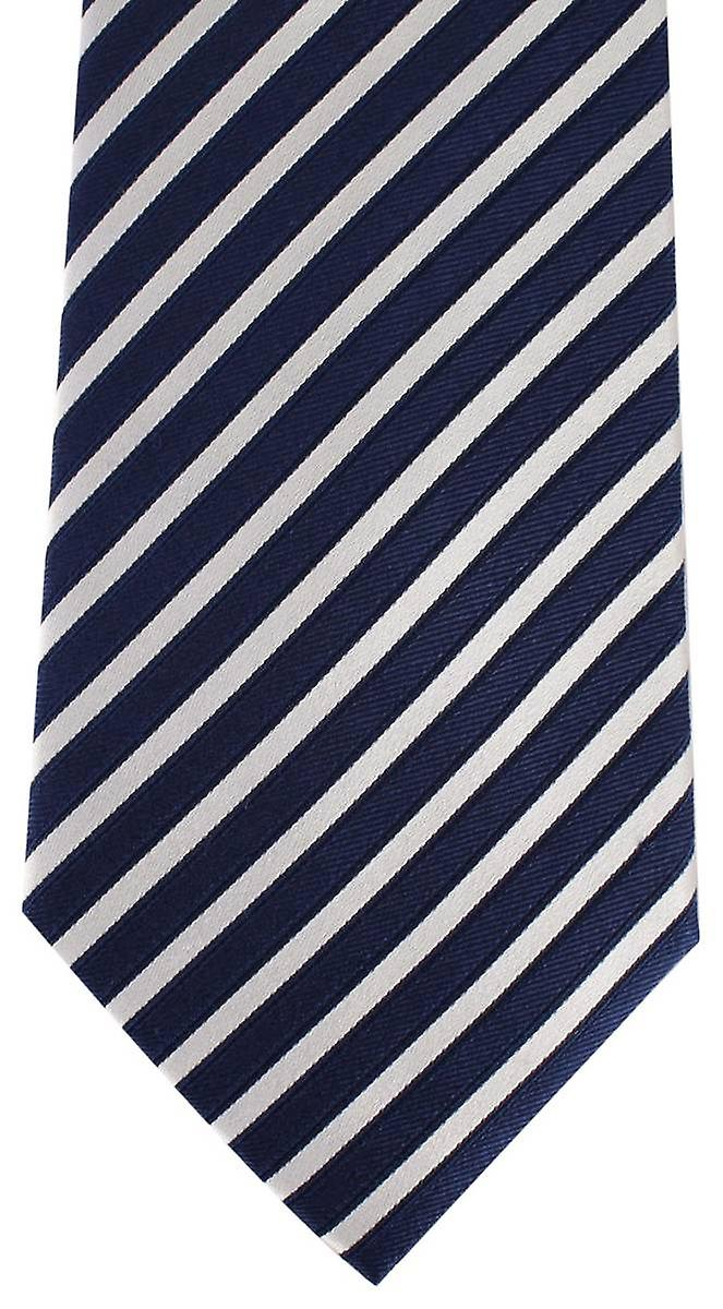 David Van Hagen Striped Tie - Navy/White