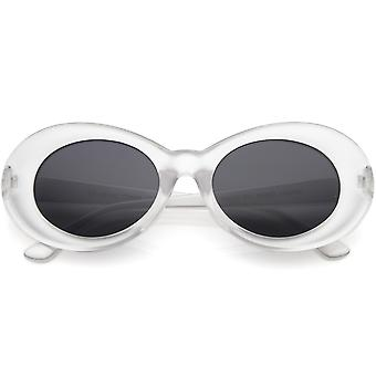 Retro Frosted Oval Sunglasse Tapered Arms Neutral Colored Lens 50mm
